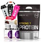 Kit Strong 7 Protein 2x Bcaa 100 Caps Max Todos os Sabores!!!