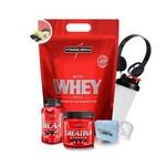 Kit Suplementos IntegralMédica - Whey Protein + Bcaa + Creatina + Coqueteleira + Fone + Porta Cápsul