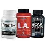 Kit Sineflex, Bcaa, Oleo de Cartamo com Omega 6 Cromo 120 Capsulas