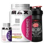 Kit Suplementos Whey Feminino 900g + Bcaa 2400 Caps Max