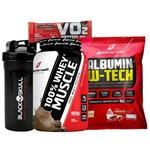 Kit Suplementos Whey Protein 100% + Albumina com Sabor