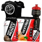Kit Suplementos Whey Proten + Bcaa + Dextrose + Camisa Preta