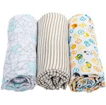 Kit Swaddle Estampado 3 Unidades - Neutro