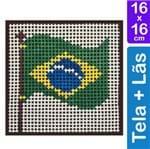 Kit Tela para Bordar 16x16 - 3217 Bandeira do Brasil