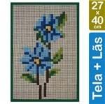 Kit Tela para Bordar 27x40 - 4902 Flor Azul