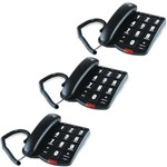 Kit 3 Telefone com Fio Teclas Grandes ToK Fácil Intelbras