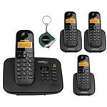 Kit Telefone Fixo Sem Fio com Secretaria Eletronica 3 Ramal
