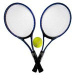 Kit Tênis de Campo com 2 Raquetes e 1 Bola Azul - Tb-1