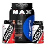 Kit Top Whey 900g + Bcaa M Tor Booster + Multicomplex - Max Titanium