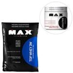 Kit Top Whey 3W - 1800g Refil Morango + Creatina - 300g - Max Titanium