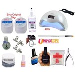 Kit Unhas Gel Sina Original 30gr + Fibra Tips Sun Cabine 48W Bivolt + Bactericida Spray Higienizad