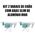 Kit 2 Varal de Chão com Abas Slim Alumínio Mor