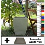 Kit Vaso Planta + Prato 45x35 Moderno Trapézio Polietileno