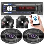 Kit 2 Vias 6 Pioneer 120w RMS + Alto Falante 6x9 400w + Radio Mp3 Bluetooth