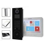 Kit Vídeo Porteiro Coletivo IP Hikvision 6 Aptos com Controle de Acesso