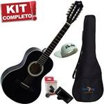 Kit Viola Caipira Acústica Aço Vs14 Bk Preta Giannini Completo