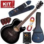 Kit Violão Elétrico Aço Gl36 Bkb Black Busrt Eagle Completo