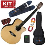Kit Violão Elétrico Auditorium Gsf-3 Ns Natural Satin Giannini Completo