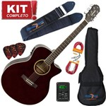 Kit Violão Elétrico Auditorium Gsf-3 Tdw Translucent Dark Wine Giannini