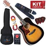 Kit Violão Elétrico Folk Aço Canhoto Sd20c Lh Hbs Strinberg Completo