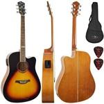 Kit Violão Elétrico Folk Aço Kansas Sb Sunburst Tagima com Capa Simples