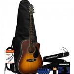 Kit Violão Eletroacústico Folk Gf-1d Honeyburst Giannini + Acessórios