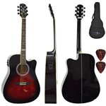 Kit Violão Eletroacústico Folk Gf1d Brb Brown Red Burst Giannini com Capa Simples