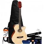 Kit Violão Mini-jumbo Cutaway Aço Gsf-1d Natural Glossy Giannini + Capa + Acessórios