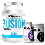 Kit Whey 7Usion - 900g Chocolate + BCAA 200 Cápsulas + Creatina 150g - Max Titanium