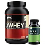 Kit Whey Protein 100% Gold Standard - 909g Banana Cream + BCAA 1000 - Optimum Nutrition