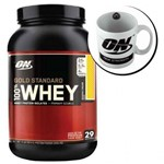 Kit Whey Protein 100% Gold Standard 909g Banana Cream + Caneca - Optimum Nutrition