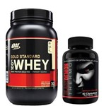 Kit Whey Protein 100% Gold Standard - 909g Chocolate + Black Demon Thermo - Intlab