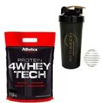 Kit Whey Protein 4W Tech 1,8KG Cookies & Cream + Coqueteleira 600ml com Mola