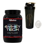 Kit Whey Protein 4W Tech 907gr Peanut + Coqueteleira 600ml com Mola
