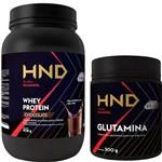 Kit Whey Protein 908g + Glutamina Ganho de Massa Musculação e Crossfit Atleta Amador Profissional