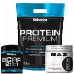 Kit Whey Protein Premium + Bcaa 2:1:1 210g + Creatina 300g