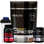 Kit 3 Whey Protein 3w 825g Refil + BCAA 2400 + Creatina 100g + Shaker Probiótica