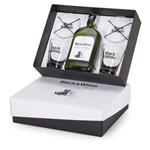 Kit Whisky Black & White 375ml + 2 Copos e 2 Porta Copos