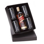 Kit Whisky Escocês Johnnie Walker Red Label Litro + 4 Copos