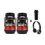 Kit 2x 100% Whey Gold Standard 2 Lbs - Optimum Nutrition + Fone + Coqueteleira