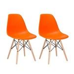 Kit - 2 X Cadeiras Charles Eames Eiffel DSW - Laranja - Madeira Clara
