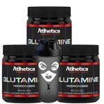 Kit 3x L- Glutamine Glutamina Micronized 450g + Shaker Atlhetica Nutrition