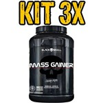 Kit 3x Mass Gainer Morango 3kg - Black Skull