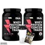 Kit 2x Whey Protein Concentrado 900g - Dux Nutrition + Coqueteleira + Dose de Suplemento