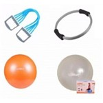 Kit Yoga Pilates Fisio Overball, Bola, Extensor e Arco Anel Liveup
