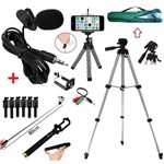 Kit Youtuber 5 em 1 Tripé 1,20m + Microfone Lapela + Bastão de Selfie + Mini Tripé + Bolsa