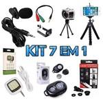 Kit Youtuber 6 em 1 Microfone de Lapela para Celular + 2 Tripés + Kit Lentes + Flash