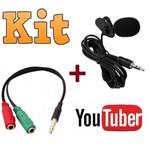 Kit Youtuber Microfone de Lapela + Adaptador para Celular Smartphone Android Iphone