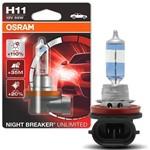 Lâmpada Halógena Super Branca Osram Night Breaker Unlimited H11 3900K 55W 12V Efeito Xênon