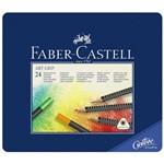 Lápis Art Grip Mina Permanente Faber-Castell - Estojo Metálico com 24 Cores - Ref 114324